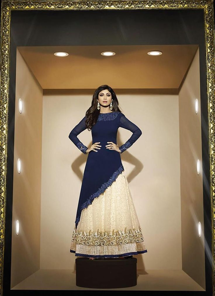 Tailed Style Blue Color with Patch Work Incredible Unstitched Salwar Kameez