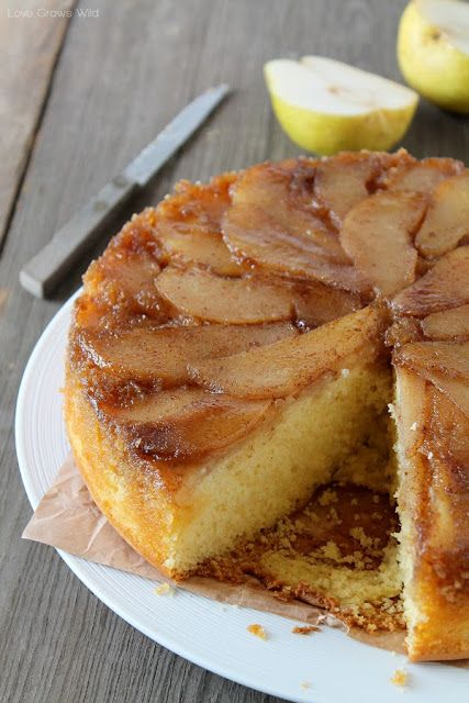 Spiced Pear Upside Down Cake - a delicious and simple dessert that looks absolutely gorgeous! at LoveGrowsWild.com