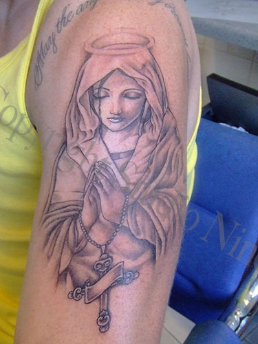 Praying Virgin Mary Tattoos - Bing Images  LOVE the face on this one.