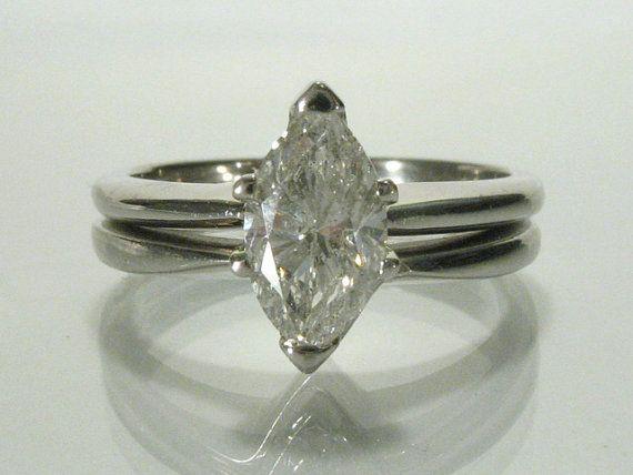 Vintage Marquise Cut Diamond Wedding Ring Set - Womens - 1.00 Carat LASER DRILLED/ENHANCED on Etsy, $1,125.00