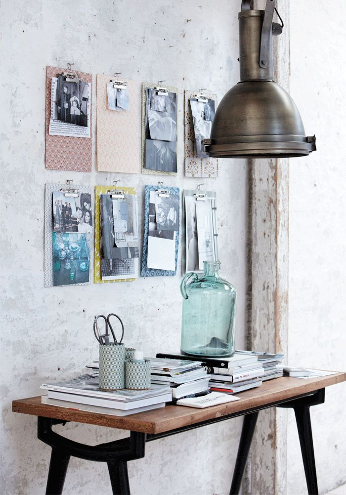 Decorating Idea Create A Home Office Moodboard With Fabric Covered Clipboards Interiors Bazaar