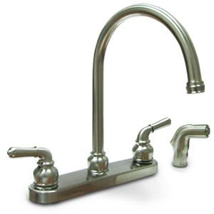 "American Brass™ 8"" Brushed Nickel Kitchen Faucet with Gooseneck Spout and Spray"
