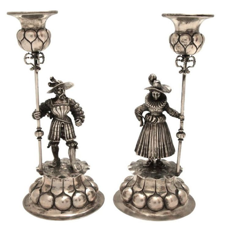 Antique European Sterling Silver Figural Candlesticks.