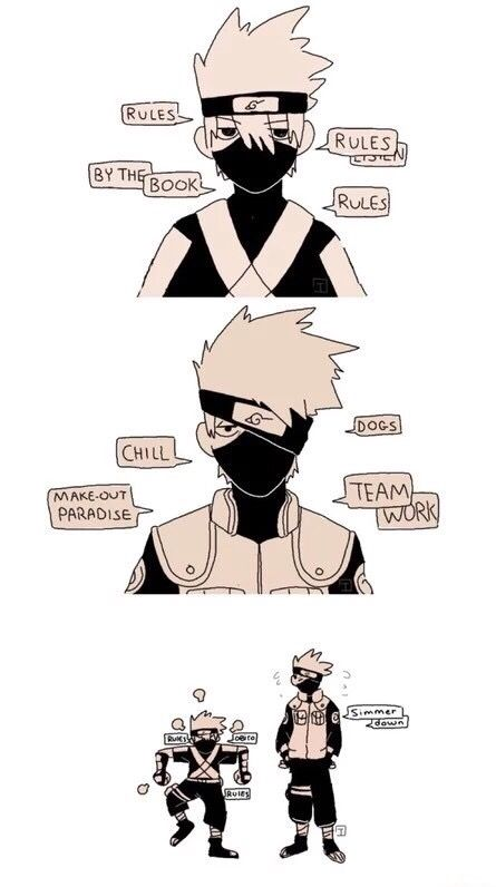 Hatake Kakashi, child, adult, serious, chill, cute, funny, text; Naruto