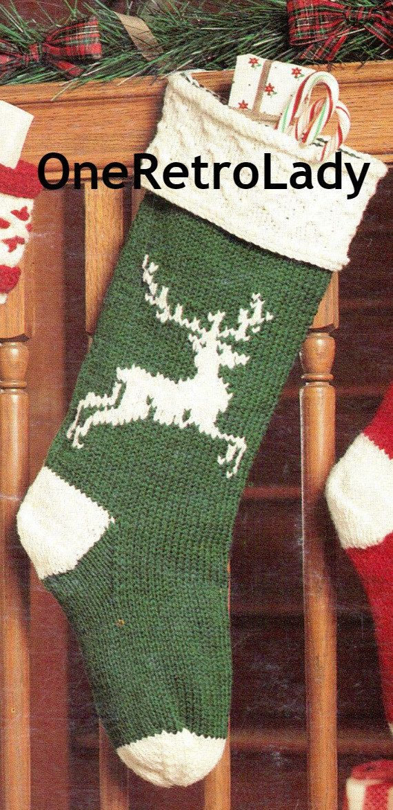Christmas Stocking Knit Pattern Vintage Reindeer Digital