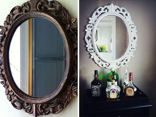 refinish a mirror - I have a few that I will get to :): Diy'S Crafts, Apartment Therapy, Diy'S Projects, Refurbished Mirror, Easy Step, White Frames, Old Mirror, Paintings Mirror, Masons Jars