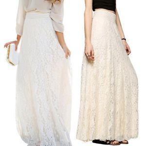 Boho Lady Women Gauze Maxi Sheer Tulle Lace Floral Gothic Long Maxi Dress Skirt