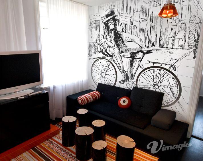Girl on Bike Wall Mural