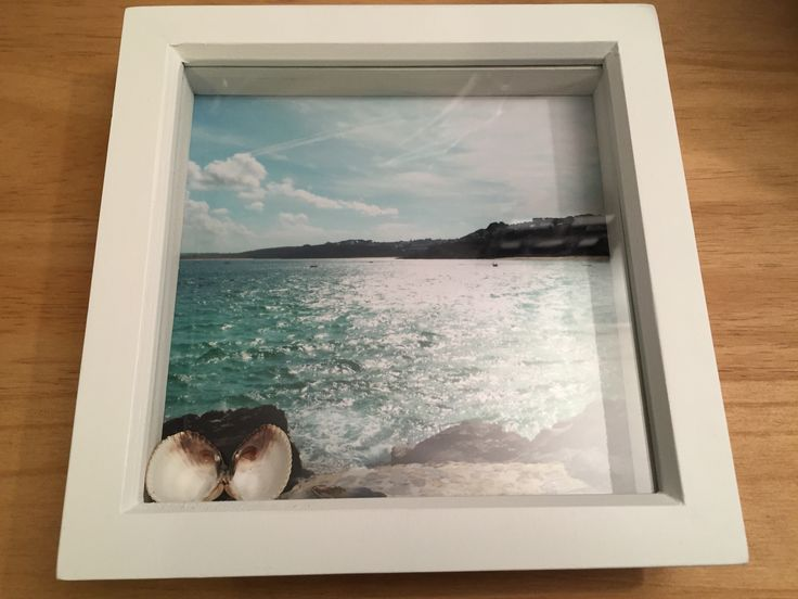 St Ives Cornwall display box photo with shells