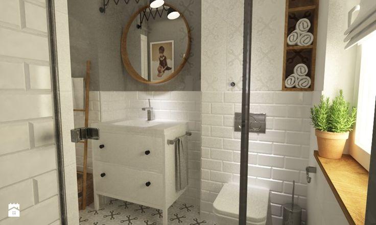 łazienki w stylu skandynawskim - Średnia łazienka w domu jednorodzinnym z oknem, styl skandynawski - zdjęcie od Grafika i Projekt architektura wnętrz