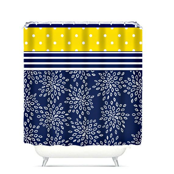 Navy and white 1 2 bath   Shower Curtain Navy Blue White Floral Yellow PolkaTop 25  best Navy blue shower curtain ideas on Pinterest  . Navy Blue And White Shower Curtain. Home Design Ideas