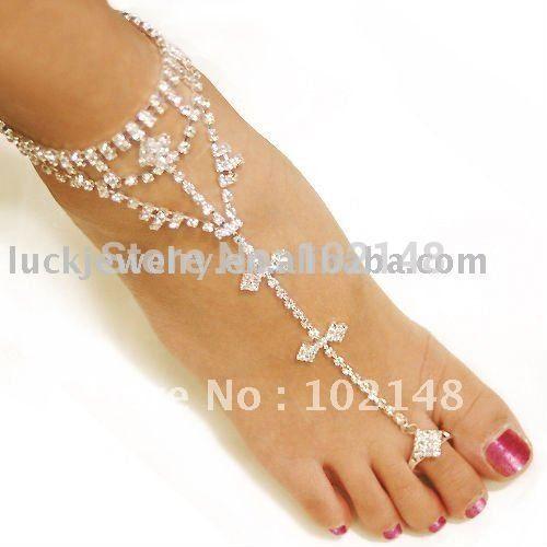 1 단일 조각 섹시한 라인 석 맨발로 샌들, 신부 발 팔찌 비치 웨딩 발 보석, 높은 뒤꿈치 발 벨트 여성(China (Mainland))
