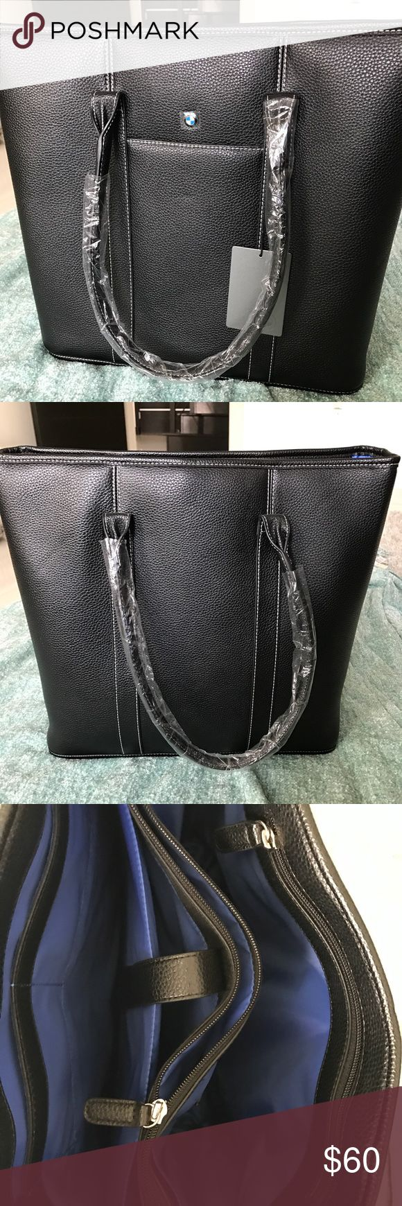 """BMW Black Handbag New with tags, measures 15"""" length, 13"""" height,  4.5"""" width, has so many interior compartments to mention, see 3rd photo BMW Bags"""