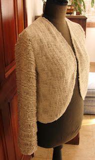 bolero de algodón con seda, mangas tricot