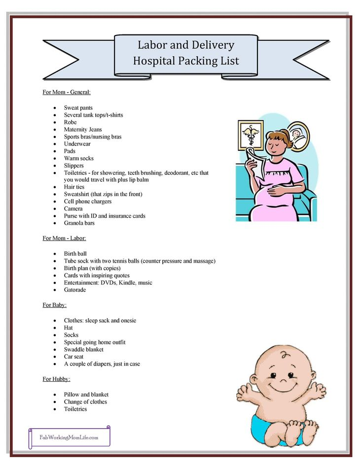 Labor and Delivery Hospital Packing List