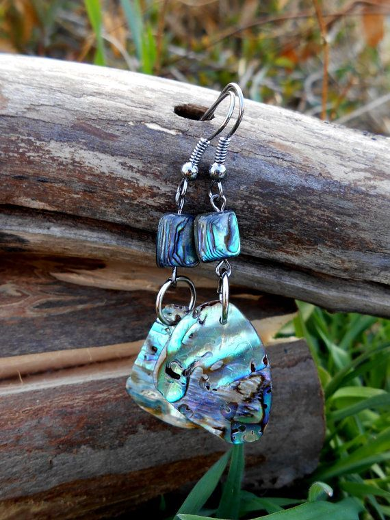 Bohemian Jewelry Abalone Shell Mermaid Macrame Earrings Hypoallergenic