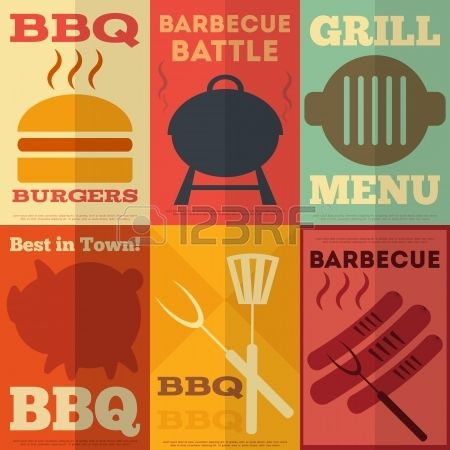 Retro Barbecue Posters Collection in Flat Design Style. Vector Illustration. Stock Vector - 25249603