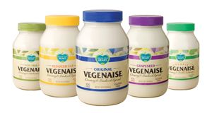 Organic Vegenaise (MAYO): Non-GMO Soybean Oil, Organic Brown Rice Syrup, Apple Cider Vinegar, Organic Soy Protein, Sea Salt.