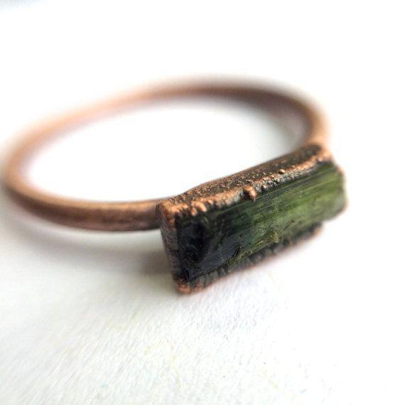Green tourmaline ring   Raw tourmaline ring   Electroformed tourmaline ring   Raw stone ring   Raw gemstone ring   Tourmaline crystal ring