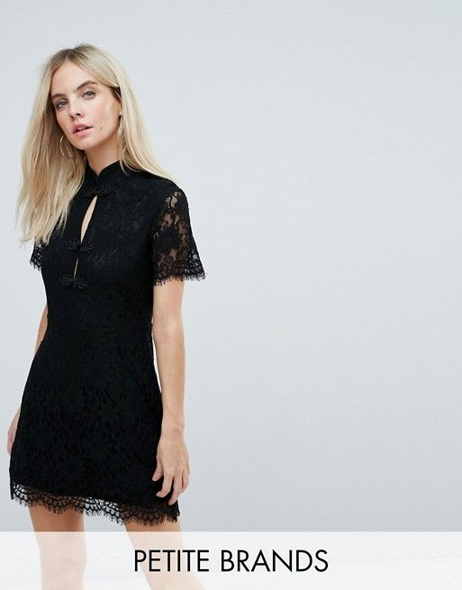Fashion Union Petite Mini Dress With High Neck In Antique Lace