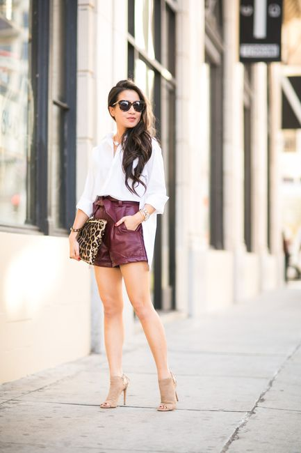 I like this color combo:  White shirt, burgundy, nude shoes, leopard clutch