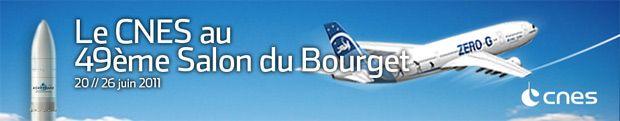 Visite virtuelle du pavillon du CNES au Salon du Bourget  2011, espaces thématiques vie quotidienne, innovation, Europe