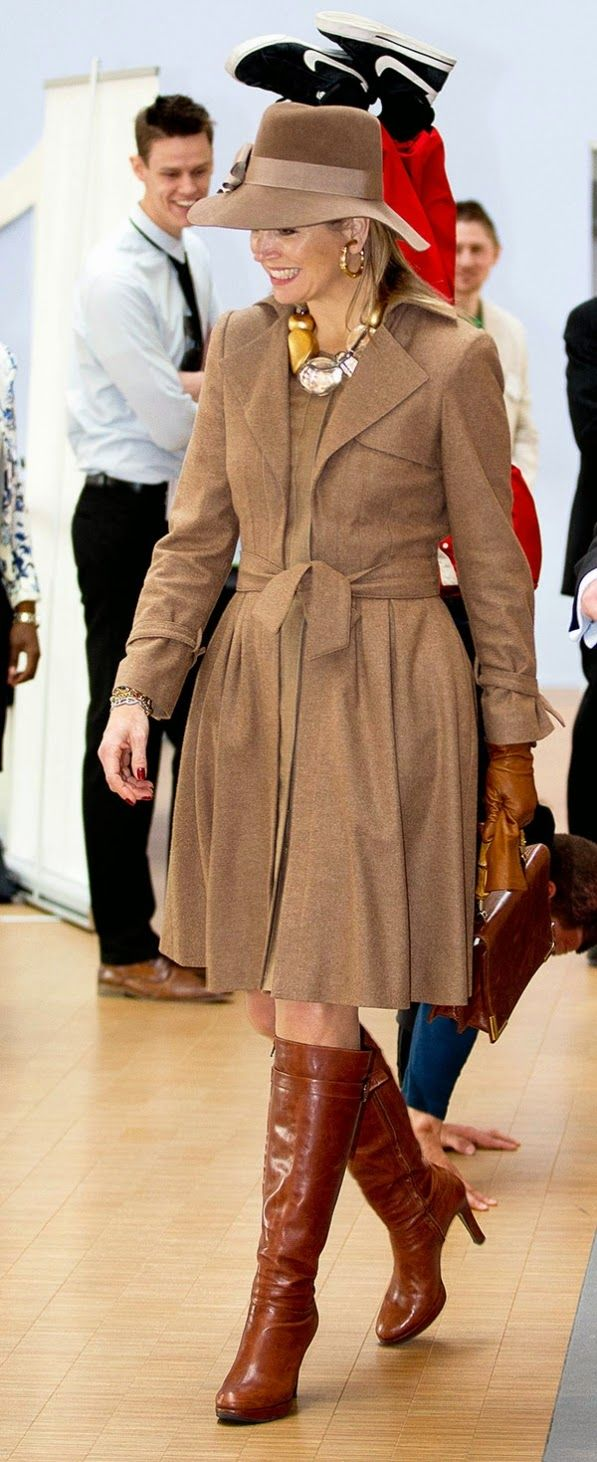 Queen Maxima attended the 10th anniversary celebrations of the ROC Midden Nederland in Utrecht. Coat from NATAN.