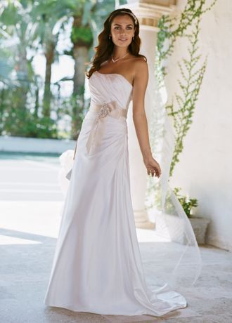 white charmeuse gown.Soft charmeuse fabric and side-drapecreate a slimming silhouette. Attached ribbon sash features beautiful applique detail. Sweep train. Fully lined. Imported polyester. Dry clean only.    Sample Sale gowns are only available online (not available in stores).  Sample Sale gowns contain imperfections such as tears in the lining or tulle, or imperfect seams in the skirt, etc.  ...
