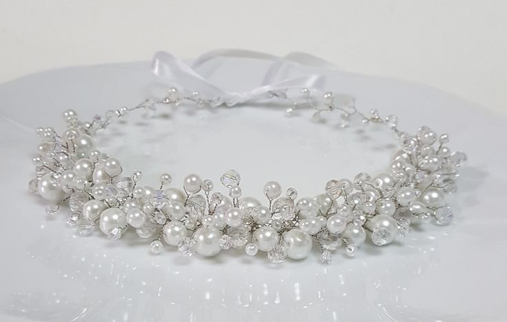 Bridal Pearls Crown,Bridal Tiara,White Pearls Headpiece,Pearls and Crystals Hair Accessories,Wedding Headband,Bridal Crown by CyShell. by CyShell on Etsy