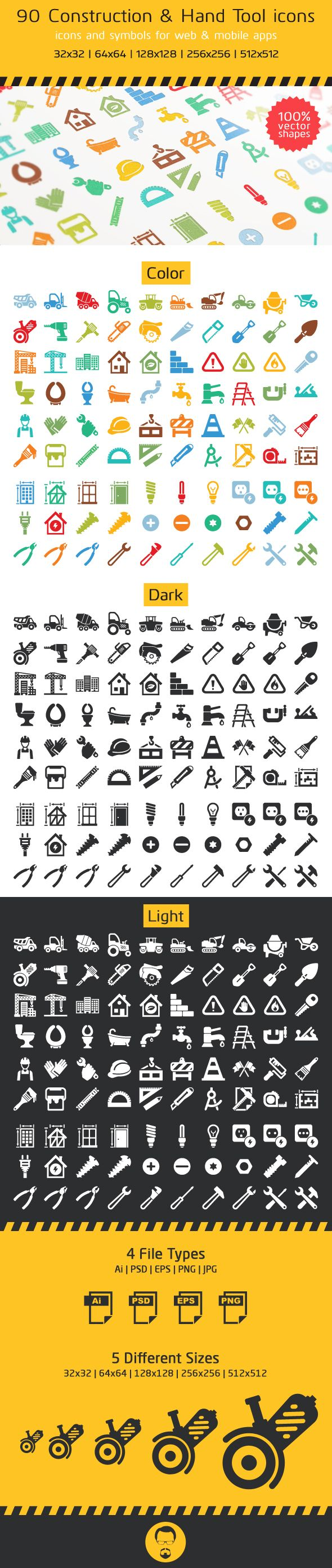 90 Construction and Hand Tool Icons by Ottoson , via Behance