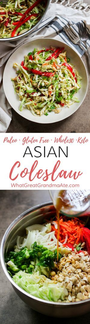 This #Whole30 and #Paleo Asian Coleslaw is a delicious and refreshing side dish to any meal that's packed with all the healthy veggies. You'll love the crunchy addition of toasted cashews as well.#glutenfree #salad #dairyfree #lowcarb #keto #lchf via @whatggmaate