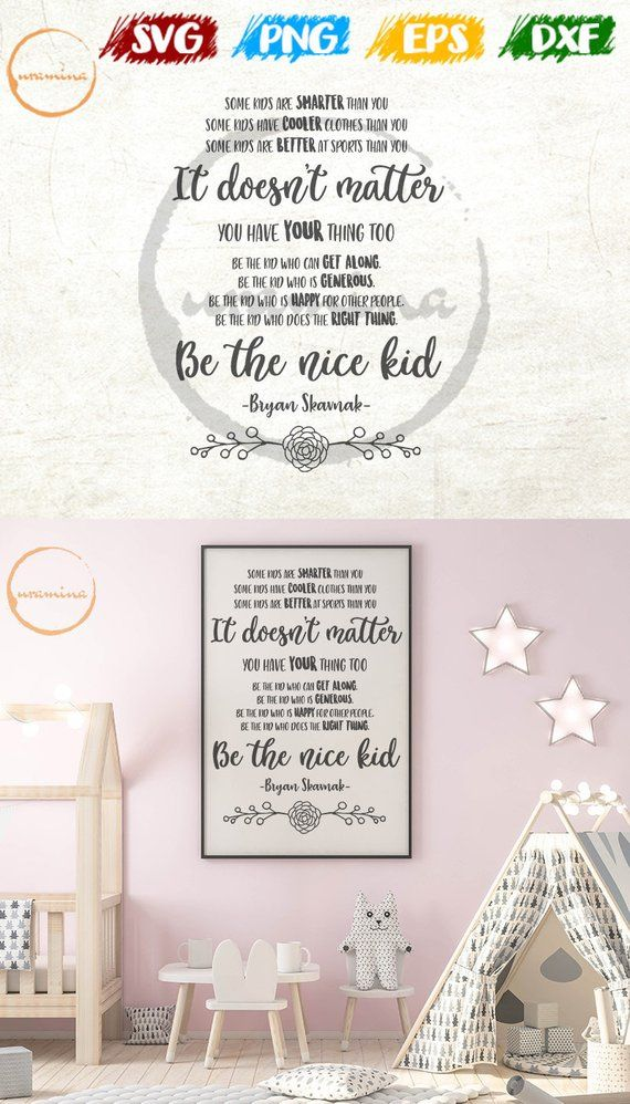 Be The Nice Kid svg. Kids Room svg. Bedroom Wall Decor