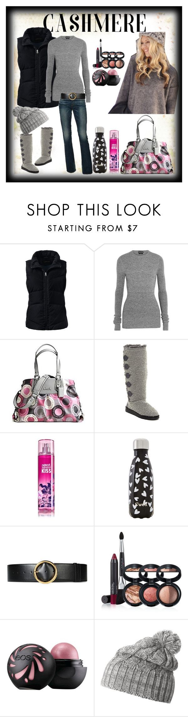 """#Cashmere"" by willfongdanielle ❤ liked on Polyvore featuring Lands' End, Tom Ford, Coach, Muk Luks, AG Adriano Goldschmied, S'well, STELLA McCARTNEY, Laura Geller and Helly Hansen"