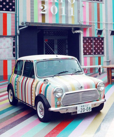 Car decorated with washi tape