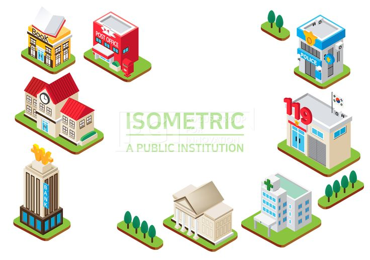 ILL193, 프리진, 일러스트, 프레임, 도시, 아이소메트릭, 그래픽, 입체, 오브젝트, 웹활용소스, 면, 다양한, 일러스트, 육면체, 3D, 도형, 컨셉, 테마, 주제, 레이아웃, 공공기관, 공공장소, 건물, 건축, 마을, 외관, 나무, 식물, 은행, 우체국, 우체통, 소방서, 경찰서, 구청, 미술관, 병원, 도서관, 책, 도서, 학교, 현관, 문, 땅, 실외기, 간판, 시계, 돈, 119, 태극기, 철문, 창문, 풀, 빨간, 빨강, 흰색, 회색, 파란, 푸른, 파랑, 녹색, 초록, 연두, 노랑, 노란, 황토색, 미색, 검정, #유토이미지