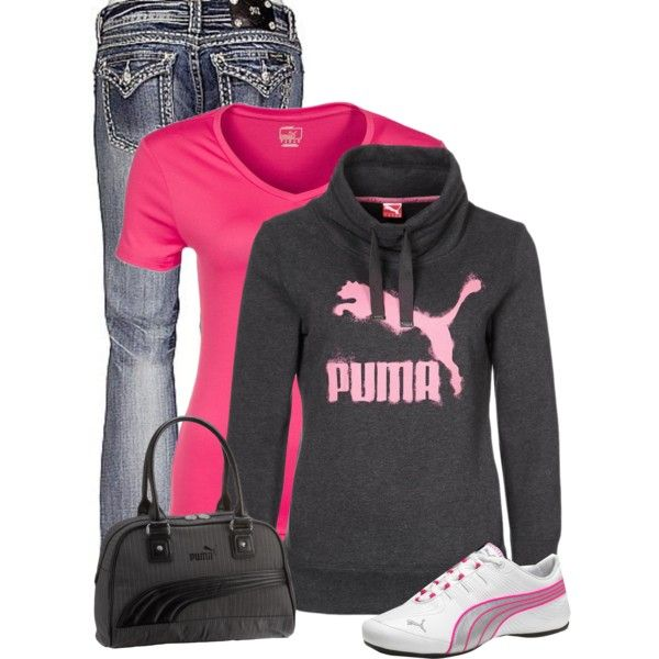 """Puma"" by cindycook10 on Polyvore  I love the jeans & the puma hoodie!!!!"