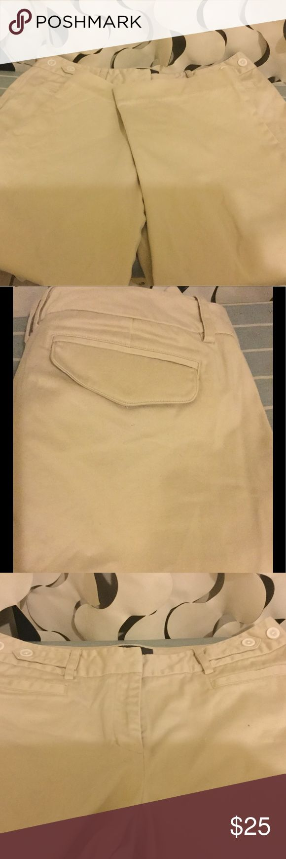Khaki capris Capri pants have front and back pockets.97%cotton 3%spandex George me design by Mark Eisen Pants Capris