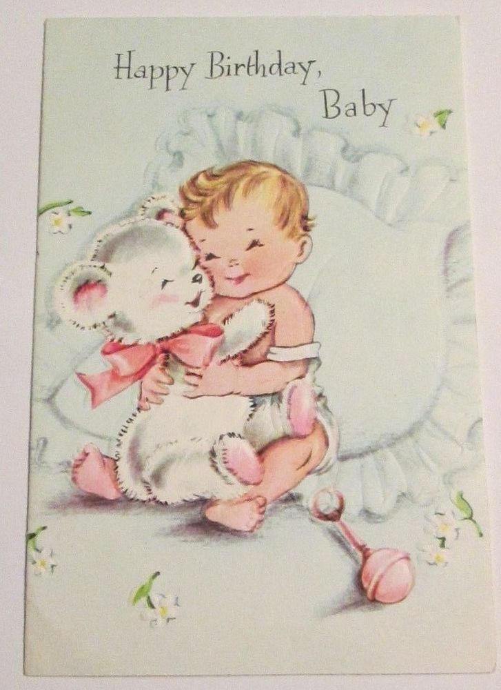Unused vtg Happy Birthday Baby mid century greeting card hugging teddy bear cute