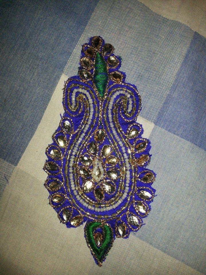 Design maggam aari zardosi embroidery sari blouse