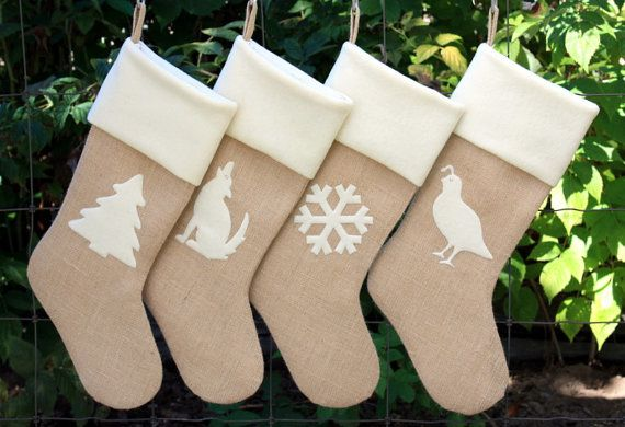 Custom Christmas Holiday Stockings Set of Four. (MONOGRAMS SOLD SEPARATELY). You choose the color of the burlap, applique and and cuff!. All