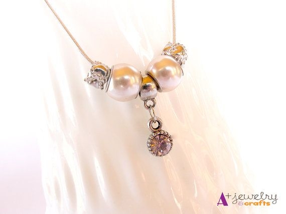 Pink and silver elegant pretty shiny white by APlusJewelryCrafts