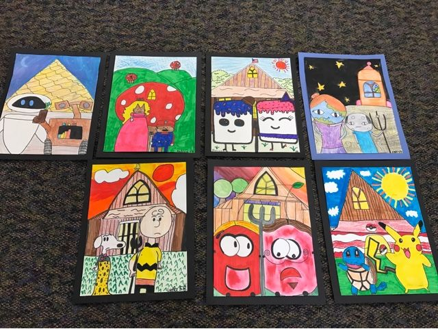 """5th grade artists are learning about Grant Wood's life and work. We talked about why """"American Gothic"""" has become so famous. We d..."""