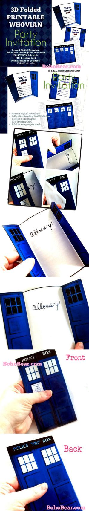Doctor Who Inspired TARDIS Cards 3D Blue Police Box Invitation by Bohemian Bear on Etsy. Instant downloads are perfect for international customers (avoid shipping fees!) and for last-minute shoppers!