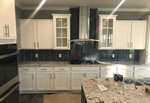 Color Wheel Twilight Blue 2x12 Herringbone Kitchen Design Kitchen Backsplash Kitchen