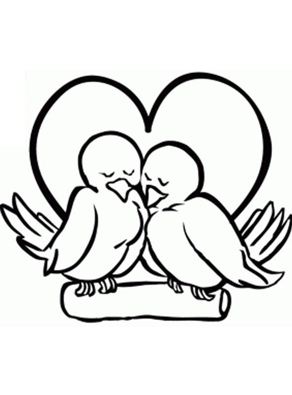 Kleurplaat: Twee vogels zijn verliefd op elkaar - Kleurplaatje.com