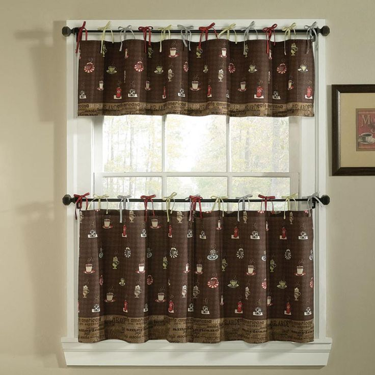 Brown Kitchen Curtains and Valances