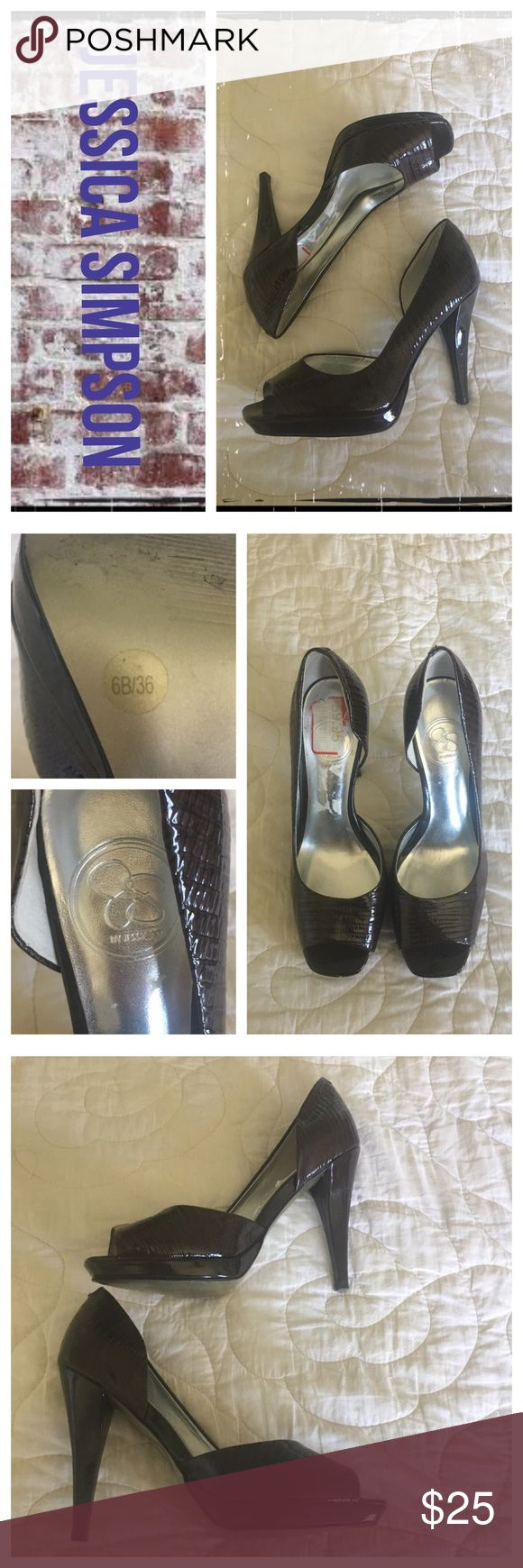 Jessica Simpson brown faux alligator OT heels Gently worn; normal wear on soles. EUC.                     ❇️ Reasonable Offers Only Please ❇️ Smoke and pet free ❇️ If this is a bundle, I WILL NOT break it up and sell    separately ❇️ I do not model anything; I will provide measurements if needed.  ❇️ Please do not hesitate to ask questions, 👍.         ❇️ NO HOLDS, NO TRADES, POSH RULES ONLY! Jessica Simpson Shoes Heels