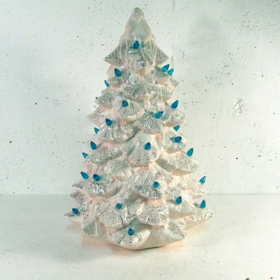 Vintage white ceramic christmas tree with lights by stephieD
