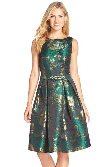 Eliza J Metallic Jacquard Fit Amp Flare Dress Regular