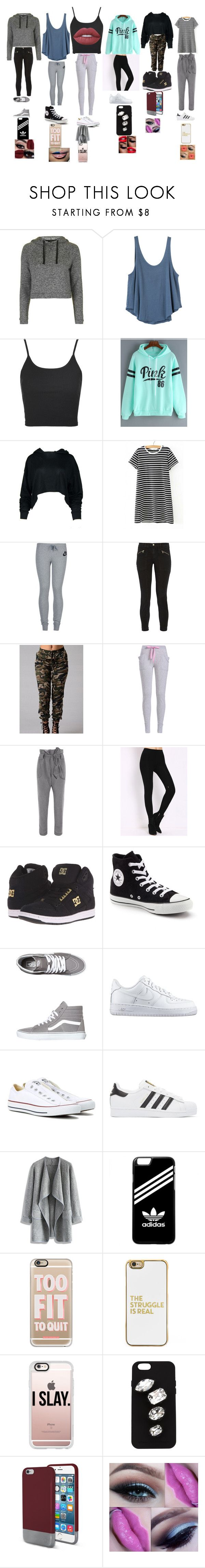 """just random outfits"" by jtbae ❤ liked on Polyvore featuring Topshop, RVCA, WithChic, NIKE, J Brand, Vivienne Westwood Anglomania, DC Shoes, Converse, Vans and adidas Originals"